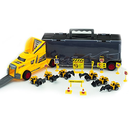 SAKIBO Kids 2-Sided Transport Car Die-cast Carrier Set Play Vehicles Truck Toy Great Gift for Boys and Girls includes 6 bulldozers and 28 slots Play Traffic construction Signs Aged 3+