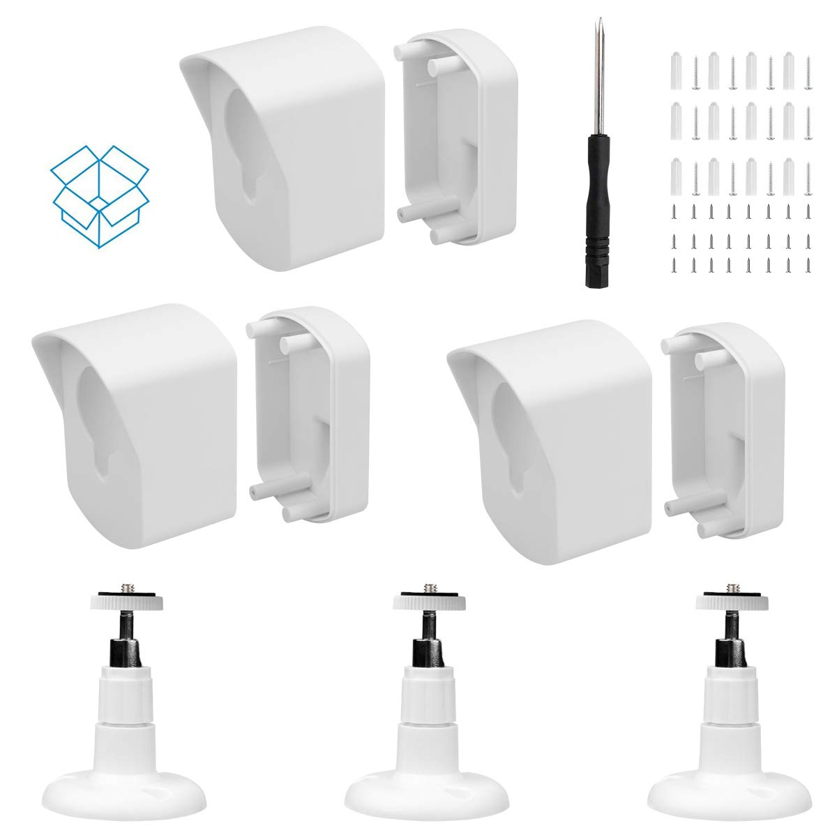 Black 1 Pack Wyze Cam Wall Mount Bracket,Full Protective Weather Proof 360 Degree Adjustable Outdoor Indoor Mount and Cover Case for Wyze Cam 1080p HD Camera