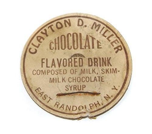 Vintage Clayton D. Miller Chocolate Milk Cardboard Bottle Cap - East Randolph, NY - Clayton Cap