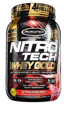 MuscleTech Nitro-Tech 100% Whey Gold, Strawberry, 2.5 Pounds