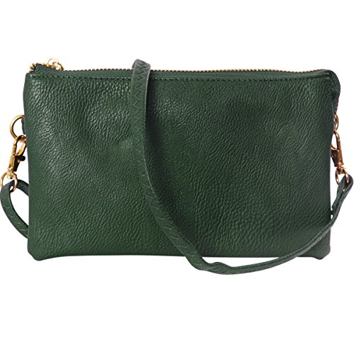 Forest Hunter Green - Humble Chic Vegan Leather Small Crossbody Bag or Wristlet Clutch Purse, Includes Adjustable Shoulder and Wrist Straps, Hunter Green, Dark Green, Forest, Olive