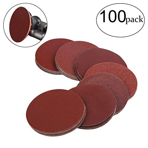 HIFROM 5 Inch Sanding Discs NO-Hole Hook and Loop 40 60 80 100 120 180 240 320 400 800 Grit Sandpaper Aluminum Oxide Random Orbital Sander Pads (100-Pack)  ()