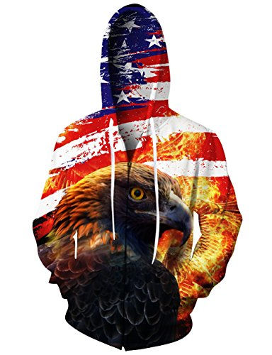 Leapparel Women's Zipped Hoodie Men Colourful Premium All Over Print Pullover Jacket With Pockets Eagle American Flag Graphic Unisex Adult XL (Flag Usa Sweatshirt)