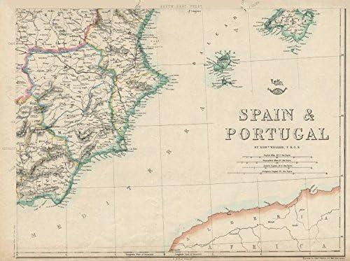 España Se. Alicante Valencia Murcia Albacete Ibiza Mallorca. Weller Old Antiguo Mapa Vintage – 1863 – Juego de funda nórdica Mapas de Iberia: Amazon.es: Hogar