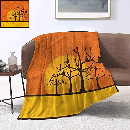 DILITECK Super Soft Blankets Halloween Spooky Bats on Trees Moon All Season for Couch or Bed W70 xL93 Traveling,Hiking,Camping,Full Queen,TV,Cabin -