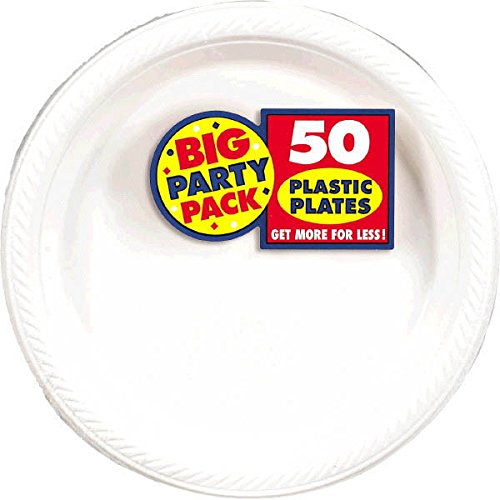 Amscan Reusable Round Frosty White Plastic 10'' Pack 50 Party Supplies , 300 Pieces
