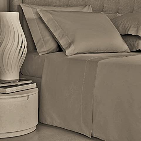Mayfair Linen Bedding Collection 600 Thread Count Bedspread 100% Egyptian Cotton Sheet Set Sateen Weave Deep Pocket Premium Quality Bedding Set Taupe - Solid Sateen Sheets