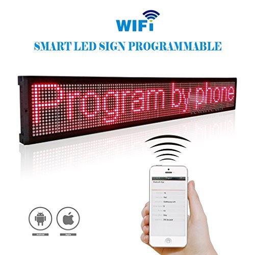 Leadleds 40x6.3 Inches Wifi Scrolling LED Sign Display Board for Business, APP (Display Board Sign)