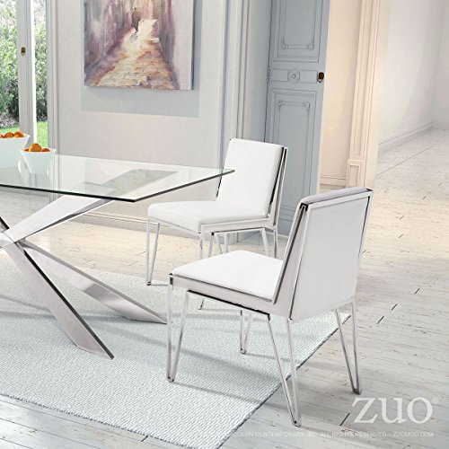 KYLOY WHITE MODERN STAINLESS STEEL FRAME COMMERCIAL GRADE DINING CHAIRS SET OF 2