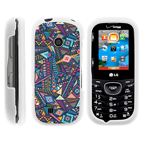 Case for LG Cosmos 3 VN251S , Snap on Shell Rubberized Grip Custom Unique Image Cover Shell White with Designs LG Cosmos 2 VN251 By TurtleArmor   2 in 1 Combo Includes Clear Screen Protector and Case - Colorful Tribal Abstract