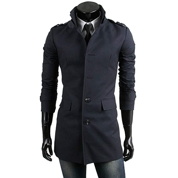 Amazon.com: Clearance!Men Long Jacket GREFER Warm Winter Trench Outwear Single Breasted Smart Overcoat Suit with Pocket: Clothing