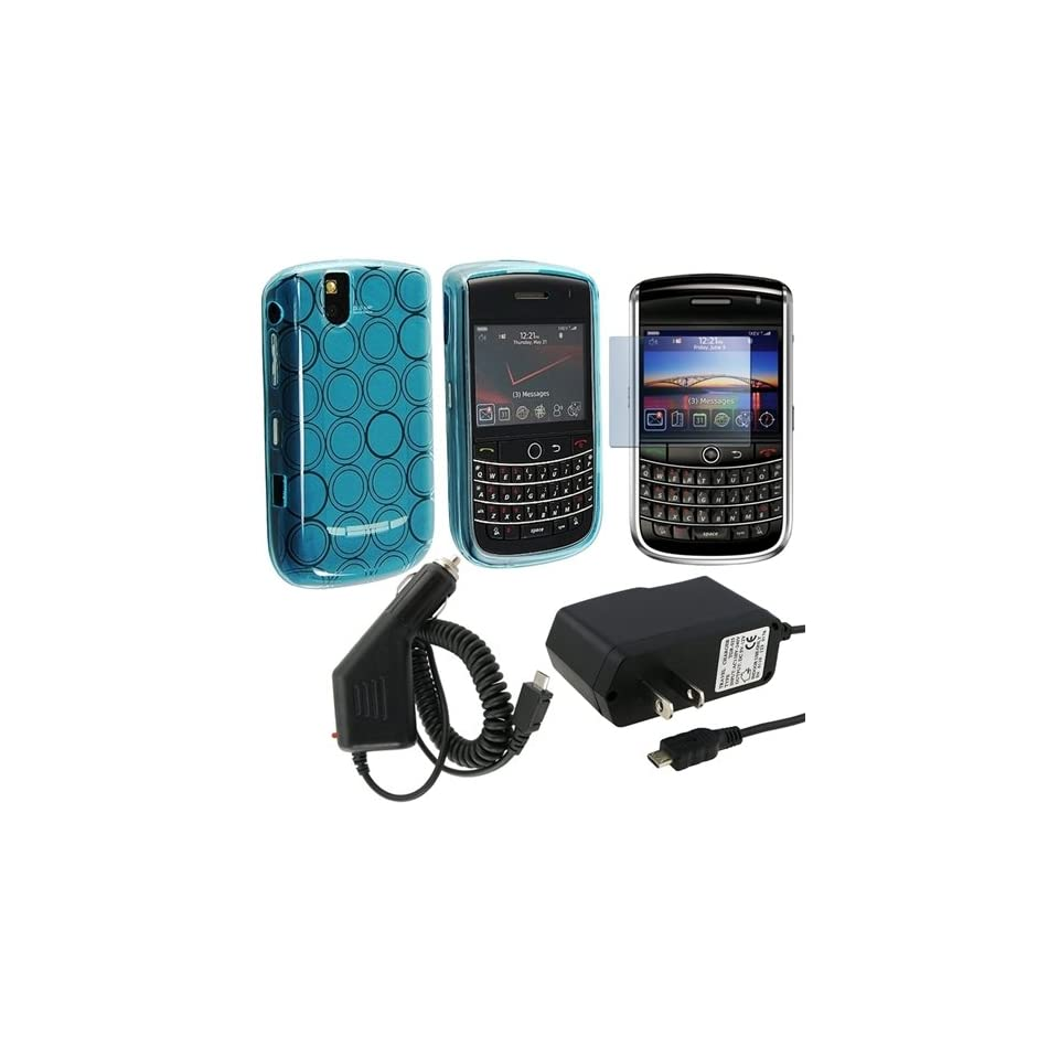 eForCity Clear Blue Circle Flexi Rubber TPU Skin + Home Travel + Car Charger + Lcd Protector For Blackberry 9630