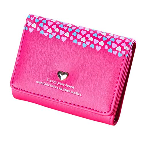Outtop Faux-Leather Small Heart Wallet with Card Holder for Women Girls (Hot Pink) ()