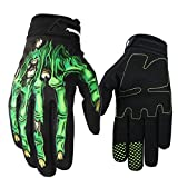 Cyling Gloves ,Skeleton Bones Full-Finger Gloves Competition Grip Fitness for Man and Woman Green Size - XL