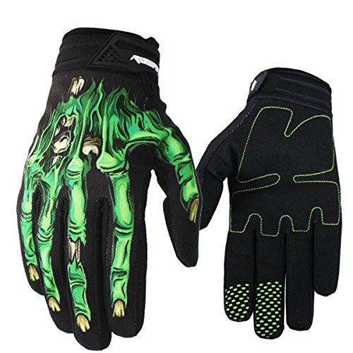 (Panegy Cyling Gloves Skeleton Bones Full-Finger Gloves Competition Grip Fitness for Man and Woman Green Size -)