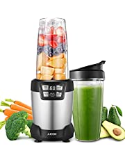 Blender, Aicok Smoothie Maker, 1200W High Speed Personal Food Processor, Programmable Juicer with 6 Stainless Steel Blades and 2 Tritan Bottles 0.8/1L for Smoothies, Milkshakes, Baby Food, BPA Free