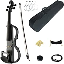 Kinglos 4/4 Black White Skull Colored Solid Wood Advanced Electric / Silent Violin Kit with Ebony Fittings Full Size (DSG1311)