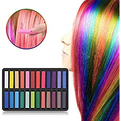 Ameauty Hair Chalk Set, 24 Hair Dye Colors Non-Toxic Washable Temporary Hair Chalk for Girls Kids Party Cosplay