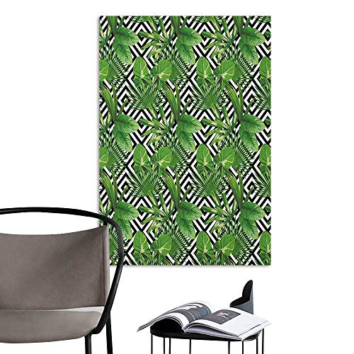 Home Decor Decals Mural Banana Leaf Coconut Palm Tree on Modern Abstract Backdrop Rainforest Design Black White Hunter Green Landscape Scenery Painting W8 x H10