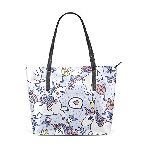Top Fashion Handle Unicorn Totes Handbag Shoulder PU Women's Purses TIZORAX Cartoon Bags Leather UXfX0