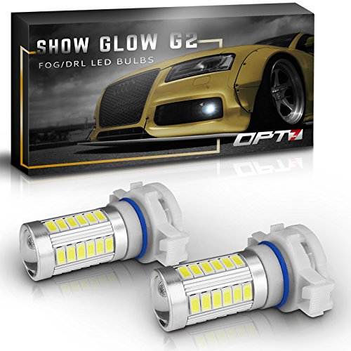 - OPT7 Show Glow G2 5202 2504 LED Fog Light Bulbs - 6000K Cool White @ 395 LMS per Bulb - All Bulb Sizes and Colors - 1 Year Warranty (Pack of 2)