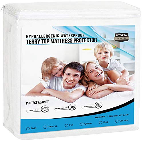 Utopia Bedding Premium Hypoallergenic Waterproof Mattress Protector - Vinyl Free - Breathable Fitted Mattress Cover (Twin) Black Friday & Cyber Monday 2018