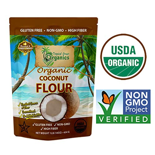Organic Coconut Flour by Tropical Green Organics, Low Carb, High Fiber, Non-GMO and Gluten-Free, Vegan & Dairy-free, 1 Pound Paleo, Keto Diet Flour for Cooking & Baking (Source Of Omega 3 In Vegetarian Diet)