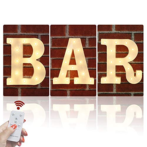 Obrecis LED White Bar Illuminated Marquee Signs Marquee Letters, Light Up Letters Remote Control Diamond Bulbs Bar Sign for Pub, Bar, Bistro, Party, Wall Decor-BAR(Warm White) -