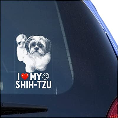 I Love My Shih-Tzu Clear Vinyl Decal Sticker for Window, Chinese Lion Dog Sign Art Print: Automotive