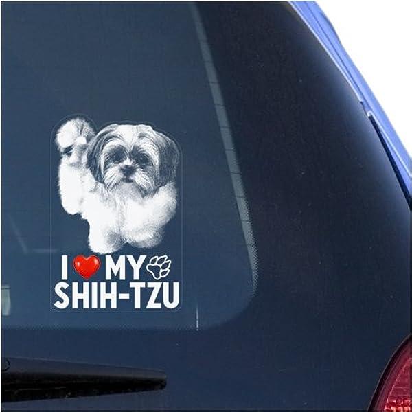 Shih Tzu Peeking out window Vinyl Decal Sticker can be customized