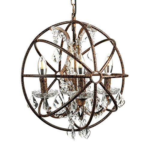 (BAYCHEER HL470351 Industrial Vintage Loft Chandelier LED Orb Crystals Ceiling Lights Wrought Iron Style Globe 4 Lights Metal Hanging Fixture for Indoor Bar Warehouse Hallway Rust Finish)