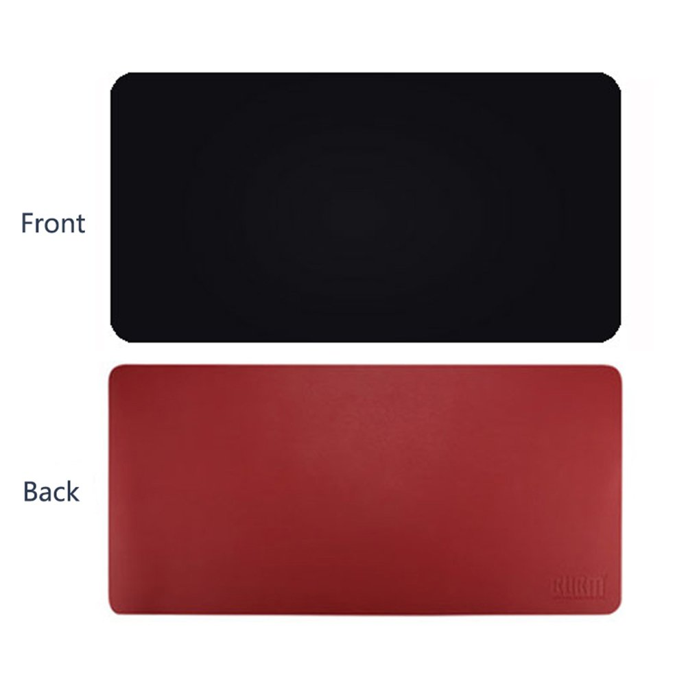 ele ELEOPTION PU Leather Extended Mouse Pad Darkblue//Yellow, 120x60cm Multifunctional Waterproof Office Desk Writing Mat Double Side Ultra-Thin Large Pad for Office Home