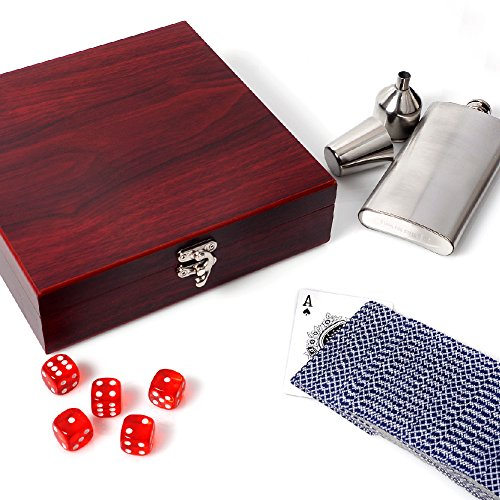 Be Burgundy - Rosewood Finish Flask Gift Set + Poker Cards & Dice |Rosewood Box - Gifts for Groomsmen Flasks, Wedding Favor | Groomsmen Gift Set, Groomsman Gifts (Favors Personalized Wedding Playing Cards)