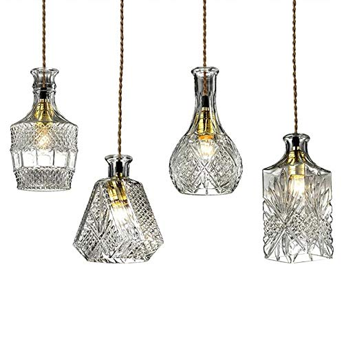 nt Light Socket Glass Pendant Flower Vase Shape Design 1 Light Clear Glass Shade ()