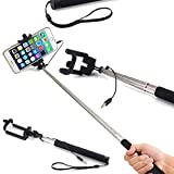 SAMAR - Extendable Integrated Selfie Handheld Stick {Latest 2017 Version} Pole Wire Monopod with Built-in Remote Camera Shutter Adjustable Holder compatible for iPhone, Samsung and other Smartphones