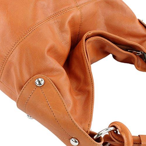 bag shoulder leather handbag Orange bag leather Brown Italian women's T61 nappa bag T61 tpwZqYHY
