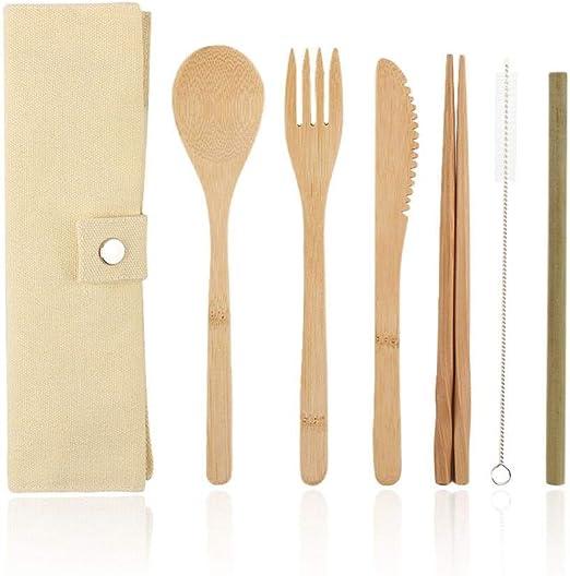 KERVINFENDRIYUN YY4 6 Unids/Pack Juego de Cubiertos de Madera Cubiertos de Bambú Juego de Cubiertos de Paja con Bolsa de Tela Utensilios de Cocina (Color : Beige): Amazon.es: Hogar