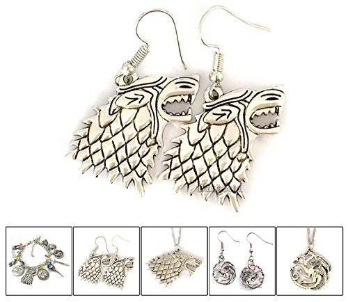 Game of Thrones Costume Jewelry House Stark Sigil Direwolf Earrings