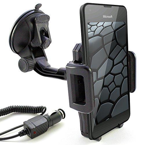 KFZ Set für MICROSOFT Lumia 650 / 640 / 550 / 540 / 535 / 532 / 435 / auch XL, LTE & Dual SIM Modelle / KFZ Halter Windschutzscheibe schwarz inkl. Auto Ladekabel