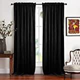 RYB HOME Blackout Curtain Shades – Rustic Classic Velvet Drapes Dual Rod Pockets Design Panels Lint Window Shades Light Control Film Room Theatre Screen, Wide 52 x Long 96 inches, Black, 2 Pcs Review
