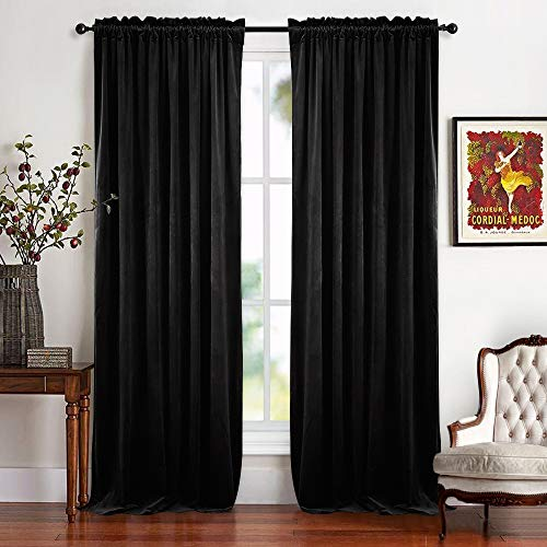 RYB HOME Blackout Velvet Curtain - Rustic Classic Velour Drapes Dual Rod Pockets Design Panels Lint Window Shades Light Control for Film Room Theatre Screen, Wide 52 x Long 96 ()