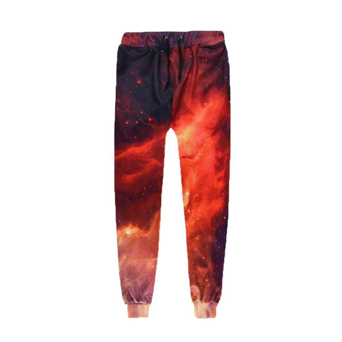 Allywit Pants Pocket Full Length 3D HD Print Men Joggers Pants Trousers