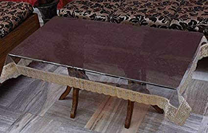 Yellow Weavestm Transparent Center Table Cover With Golden Lace (Lxb) 60 X 40 Inches