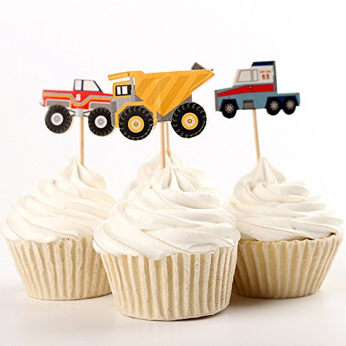 Value Pack- 24 Cupcake Toppers Picks- Various Themes (Construction Vehicles) (Construction Party Cupcake)