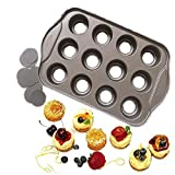 12 Cup Mini Round Tart Cheesecake Pan,Non-Stick Pie Quiche Baking Pan,Baking Cookie Dessert Cake Cupcake Mold Tools,Metal Muffin Tray, Removable Oven Bakeware Pan,DIY Chocolate Baking Dish Form Mould