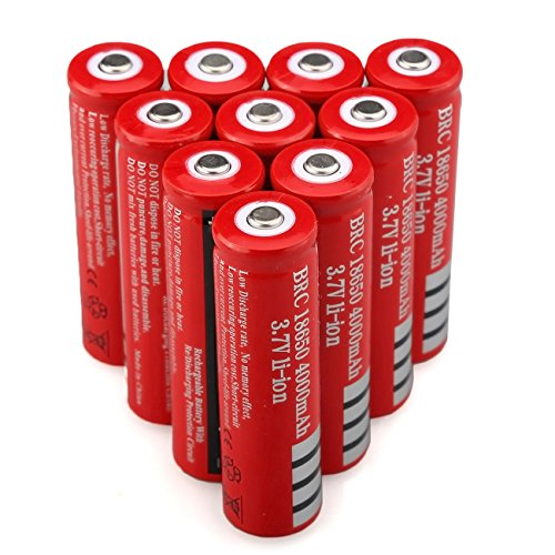 10Pcs/Set 3.7V 4000mah Rechargeable 18650 Li-ion Battery LED Flashlight Batteries