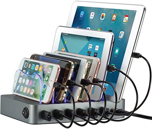 Simicore Charging Station for Multiple Devices, Certified 6 USB 50W 10A Fast Charging Dock, Non-Slip Surface, Smart Phones, Tablets, Watch, Other Electronics Organizer, Gray