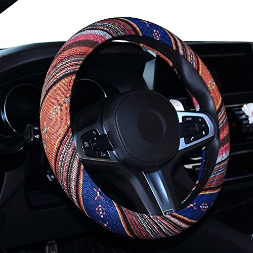 (SHIAWASENA Car Steering Wheel Cover, Coarse Flax Cloth, Ethnic Style, Universal 15 Inch Fit, Anti-Slip Sweat-absorbent (1#))
