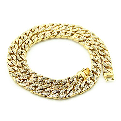 Fashionever Mens Necklace Chain Hip hop Iced Out Curb Cuban Silver Gold Plated w/Full Clear Rhinestones Necklace 30 inch - Chain Rhinestone Hip Hop