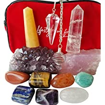 Chakra Stones Healing/Balancing Kit 12 Piece + 1 New Keychain, Ebook, 7 Chakra Crystals, Amethyst Cluster, Quartz Pendulum, Raw Rose Quartz, 2 Obelisks. Use for Reiki, Meditation, Rituals, Energy Work